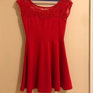 Red sleeveless fit and flare dress